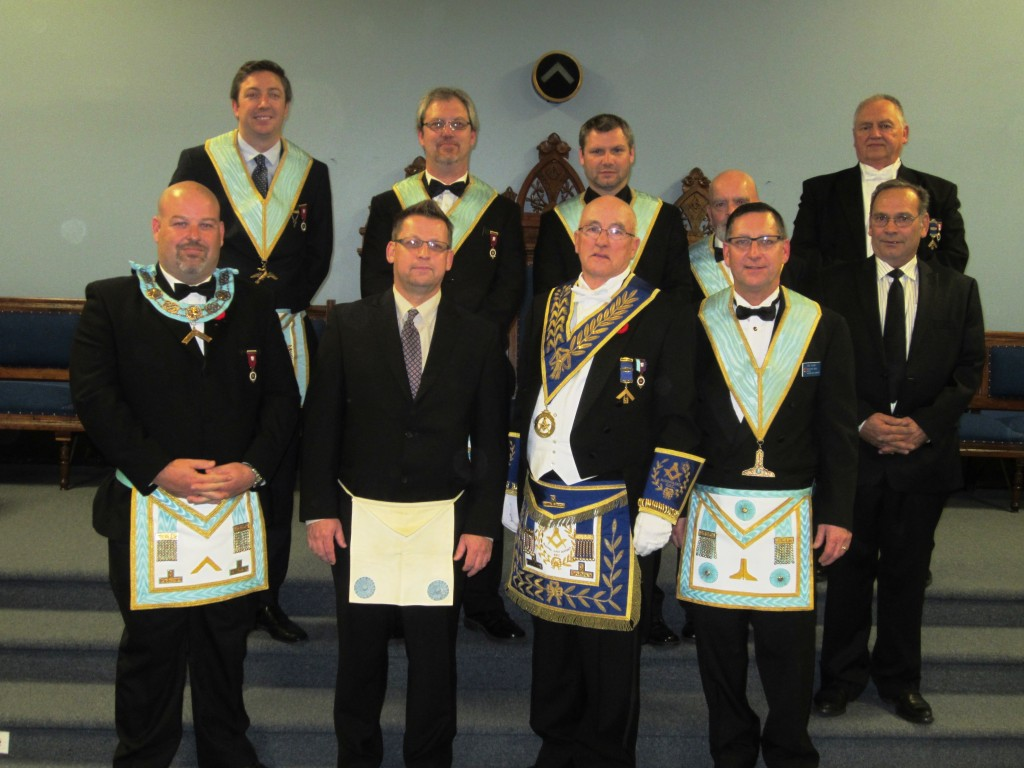 Front Row left to right W. Master Meurwyn Jeffreys,Bro. James Pollari, R.W. Bro. John Henry Lewis DDGM of Algoma East District, Bro. Joseph Allan, Bro. Brian Bouchard. Back Row left to right Bro. Paul Skeggs, Bro. Denis Adshead, Bro. Chris Morianti, W. Bro. Richard Hannah, R.W. Bro. Stephen Koivisto.